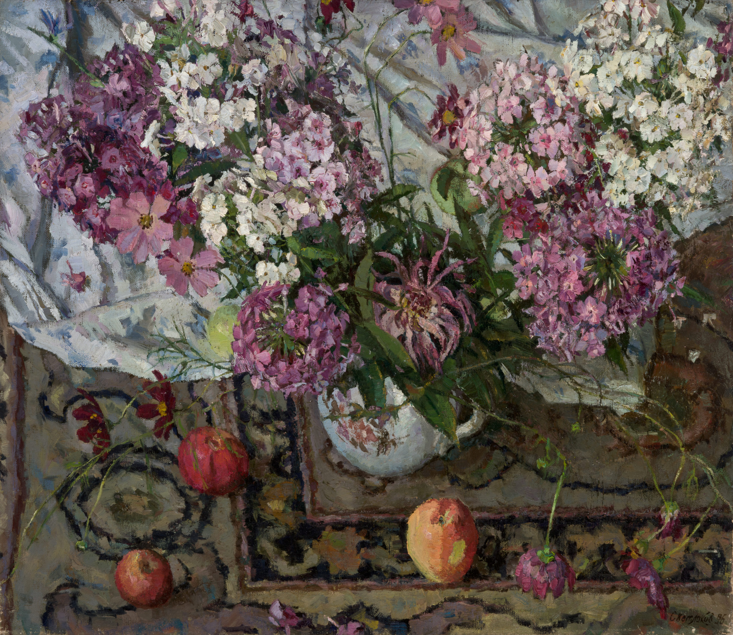 Still-life with Pomegranates against the background of Central Asian Suzani: oil on canvas, 75x65 cm.