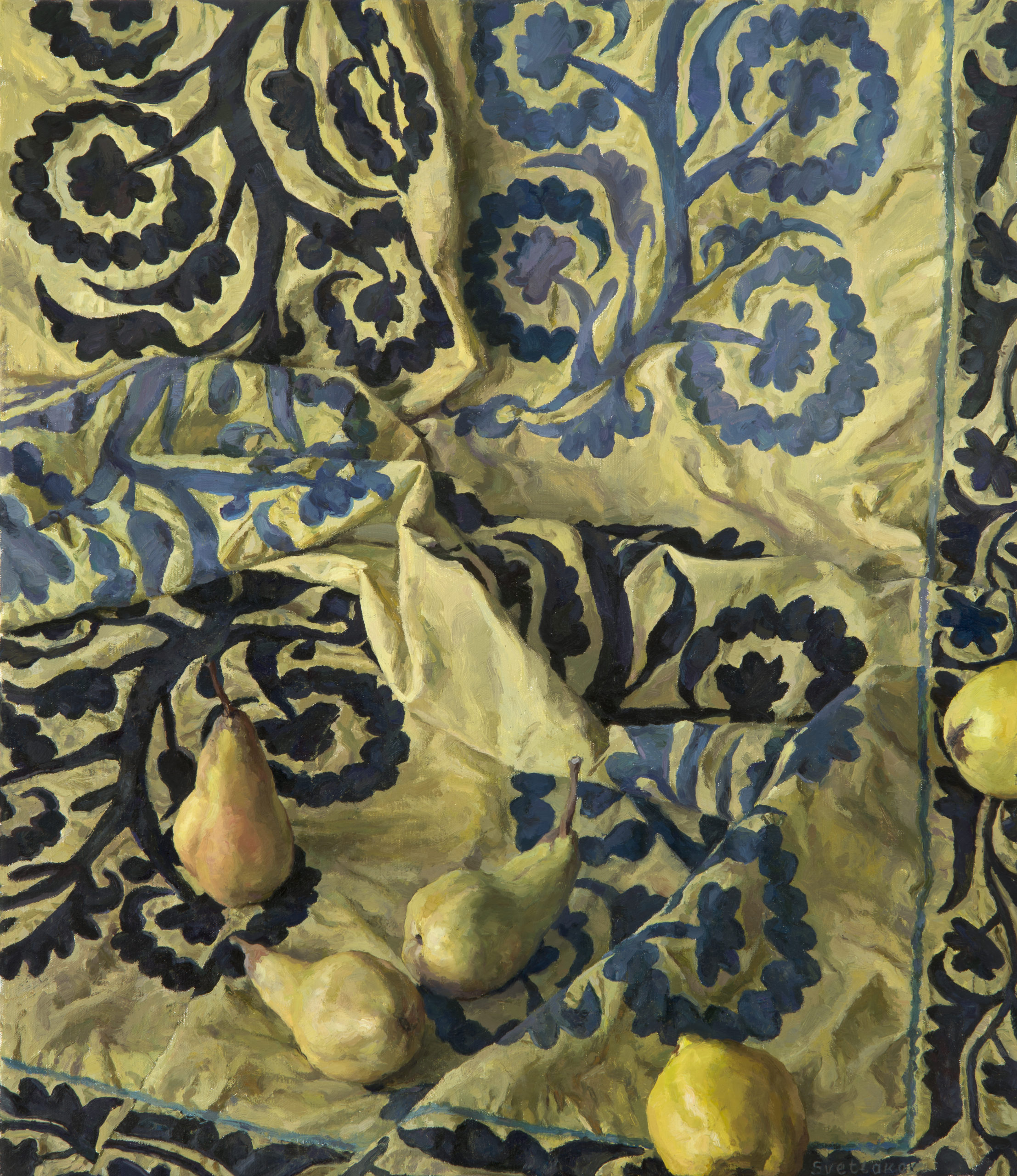 Quince and Pears against the background of Central Asian Suzani: oil on canvas, 70x55 cm. 2012.