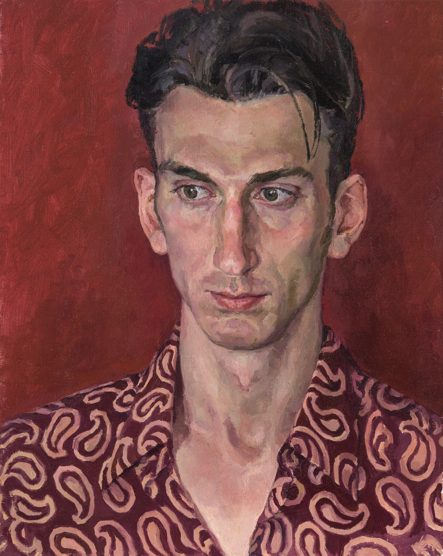 Portrait of Denis — actor, juggler and fashion-model: oil on canvas, 50x40 cm.