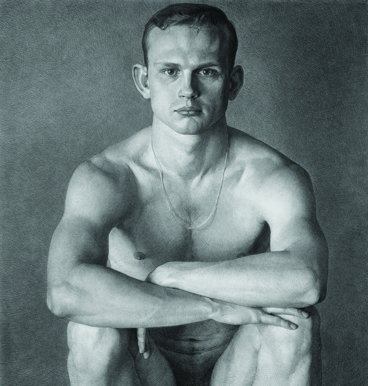 Footballer: pencil on paper, 58x55 cm. 2000.