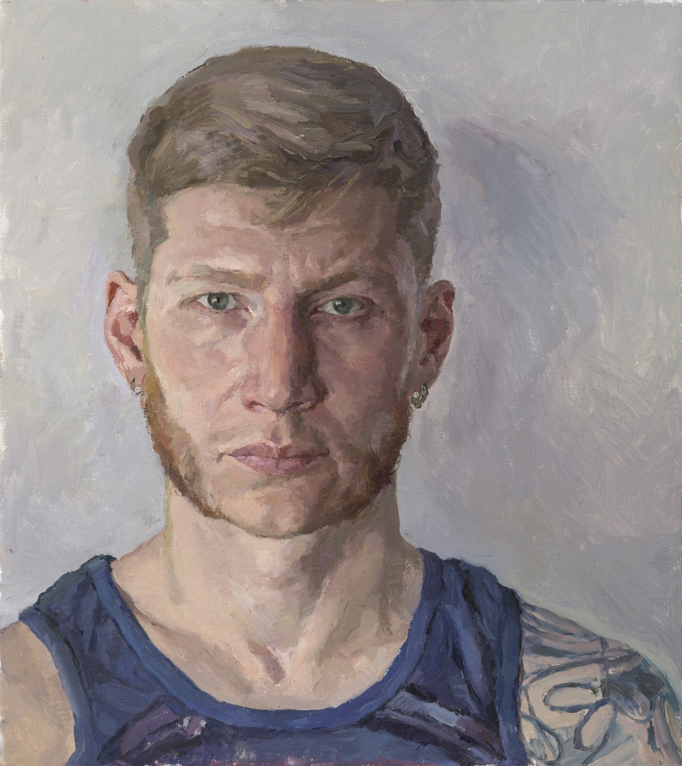 Portrait of punk-rock musician and «MC Up1»: oil on canvas, 45x40 cm.